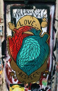 graffiti heart with the words love and respect